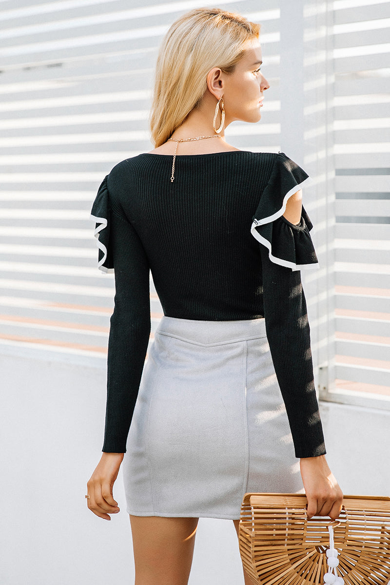 Cutout Ruffles Knit Top - BEHIND HEMLINES