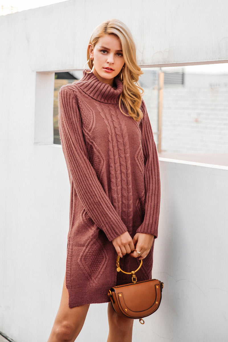 Turtleneck Knitted Midi Dress - BEHIND HEMLINES