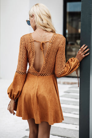 Brown Suede Skater Dress - BEHIND HEMLINES