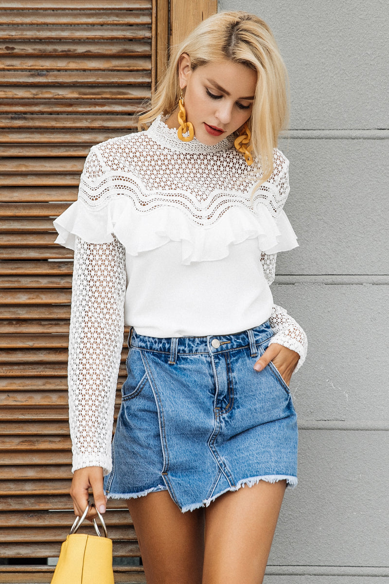 White Victorian Lace Blouse - BEHIND HEMLINES