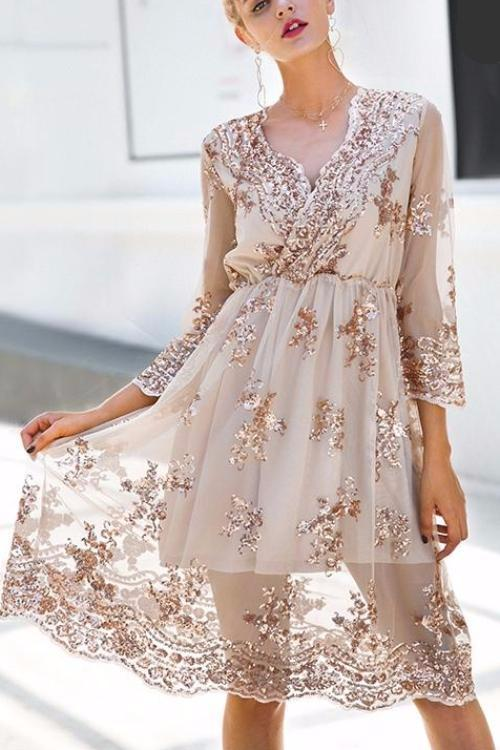 Longsleeves Sequins Midi Dress
