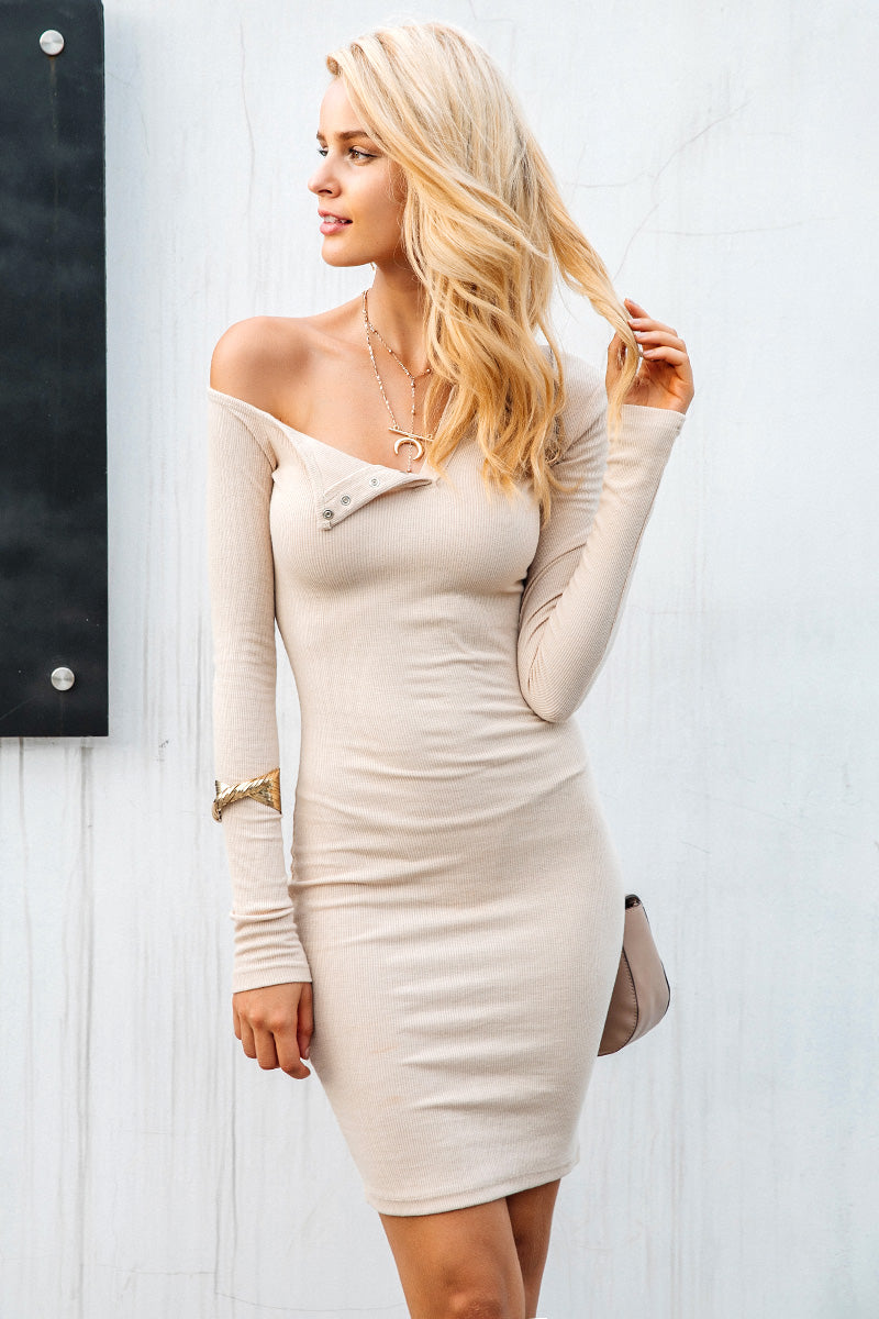 Longsleeves Ribbed Bodycon Dress - BEHIND HEMLINES