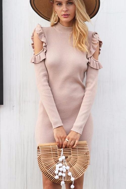 Cutout Shoulder Ruffles Knitted Dress - BEHIND HEMLINES