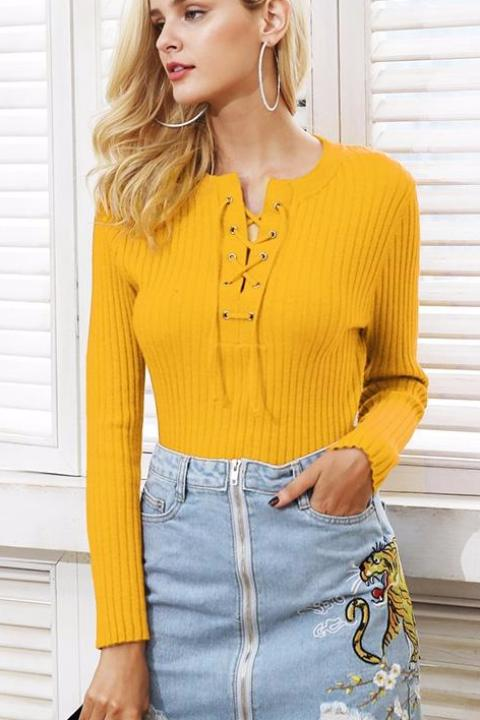 Lace Up Round Neck Sweater - BEHIND HEMLINES