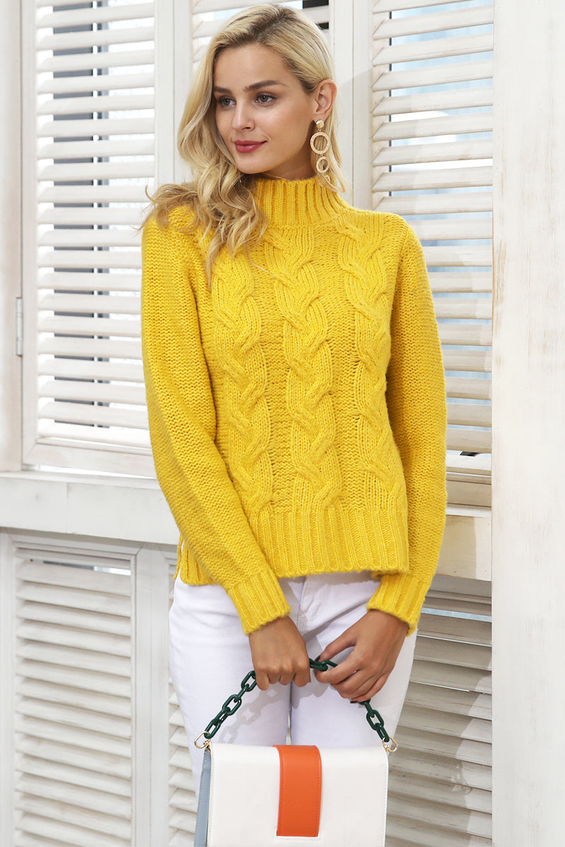 Turtleneck Pleated Knitted Sweater - BEHIND HEMLINES