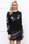 Black Floral Embroidery Knitted Sweater - BEHIND HEMLINES