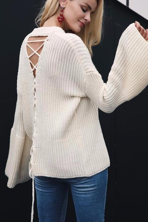 Bell Sleeved Crisscross Sweater - BEHIND HEMLINES