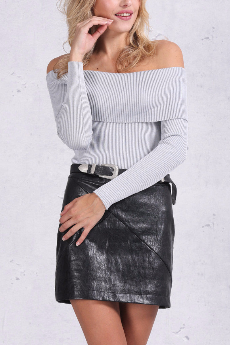 Off Shoulder Knitted Cropped Top - BEHIND HEMLINES - 1