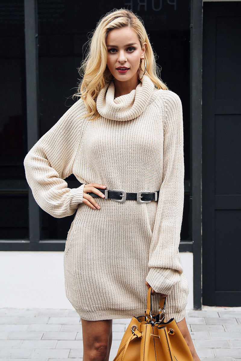 Turtleneck Baggy Knitted Dress - BEHIND HEMLINES