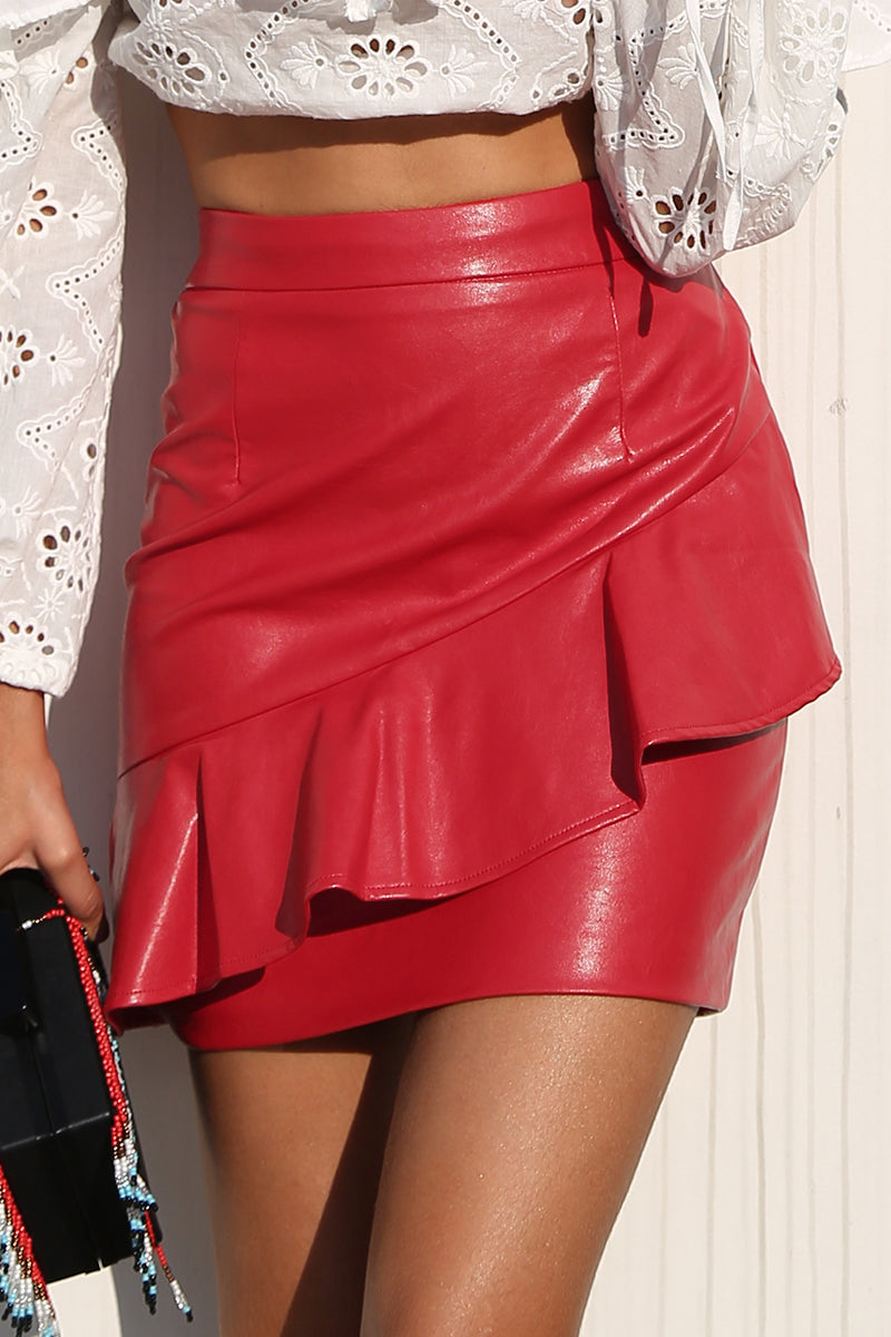 Ruffle Leather Skirt - BEHIND HEMLINES