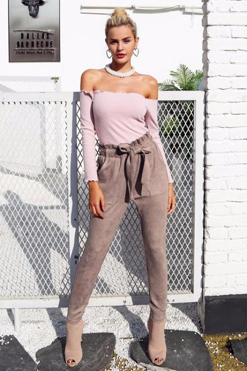 Suede Tapered Trousers - BEHIND HEMLINES