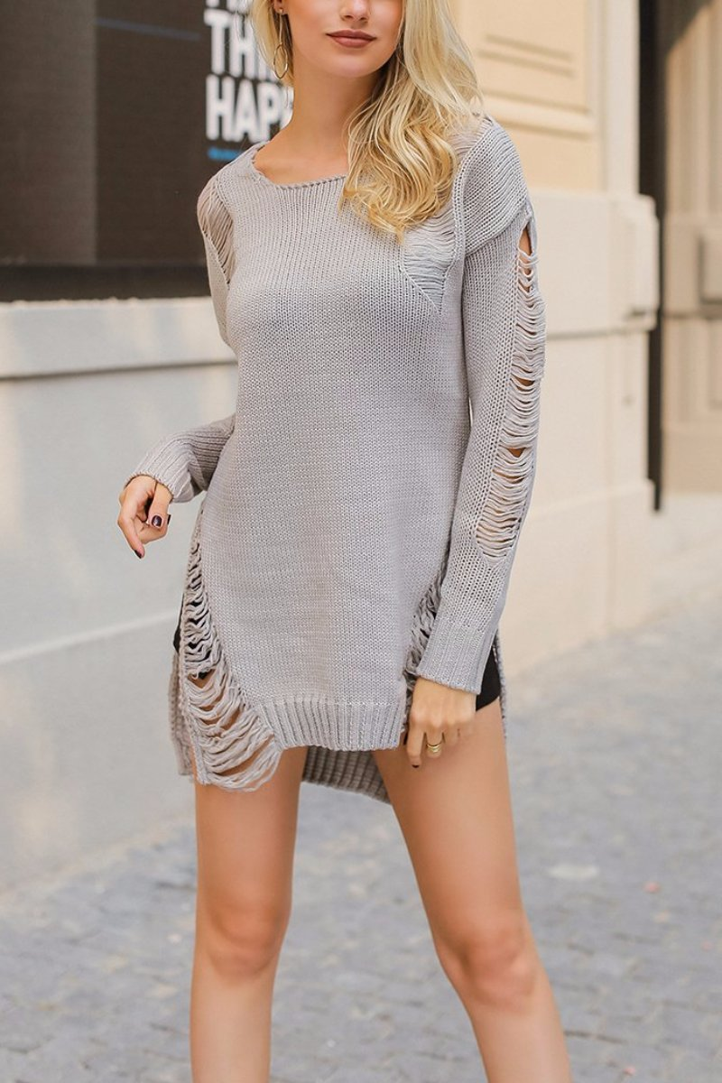 Side Ripped Sweater - BEHIND HEMLINES