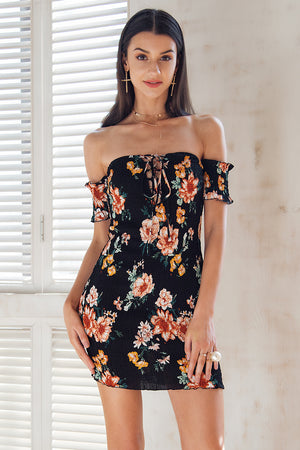 Off Shoulder Floral Bodycon Mini Dress - BEHIND HEMLINES