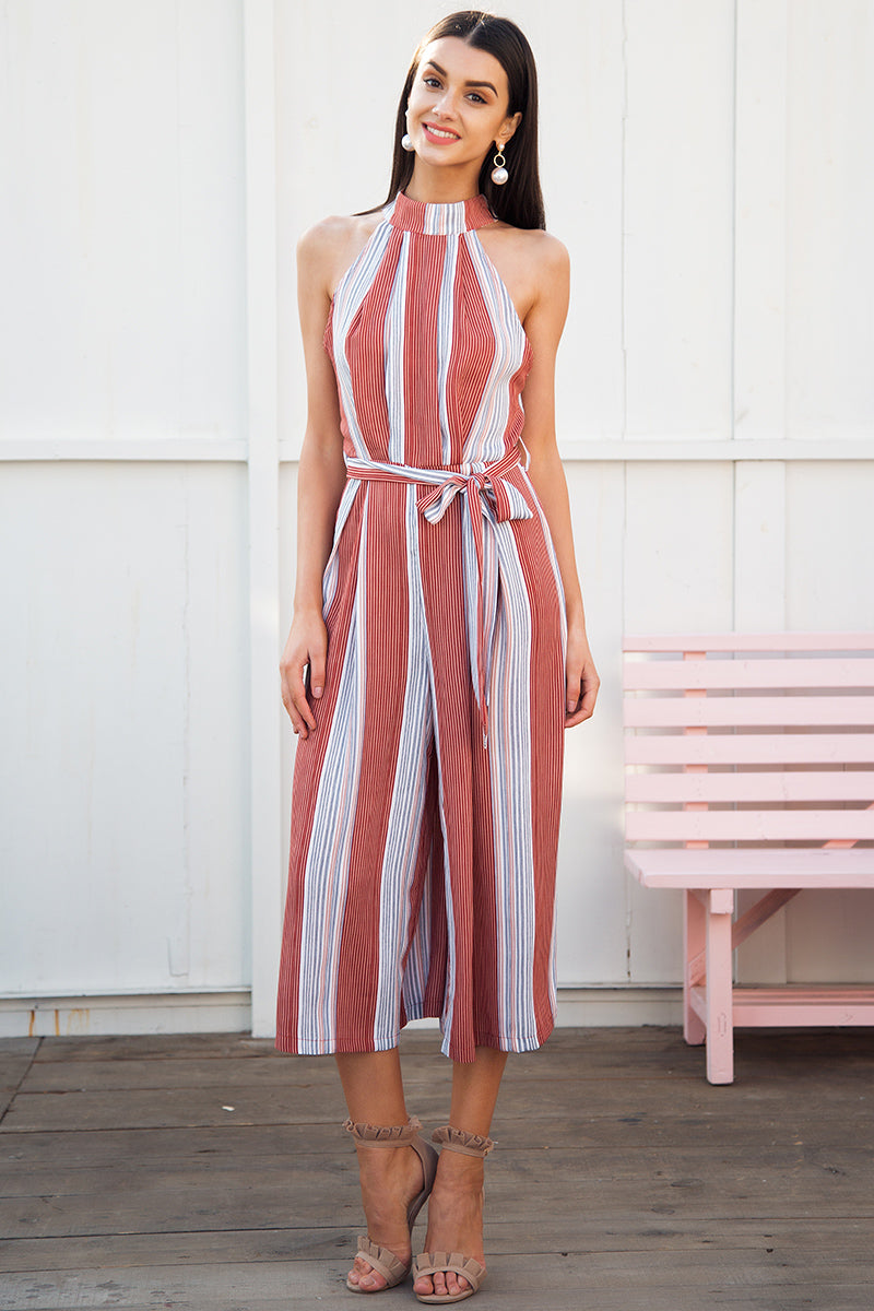 Halter Neck Stripes Jumpsuit - BEHIND HEMLINES