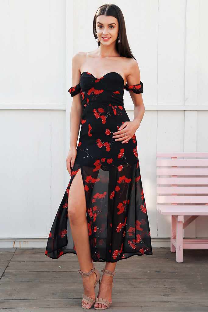 Black Floral Maxi Dress - BEHIND HEMLINES