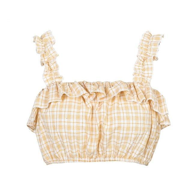 Ruffled Plaid Crop Top