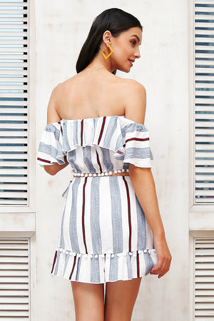Off Shoulder Stripes Two-Piece Dress - BEHIND HEMLINES