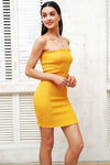 Strapless Bodycon Ruffle Dress