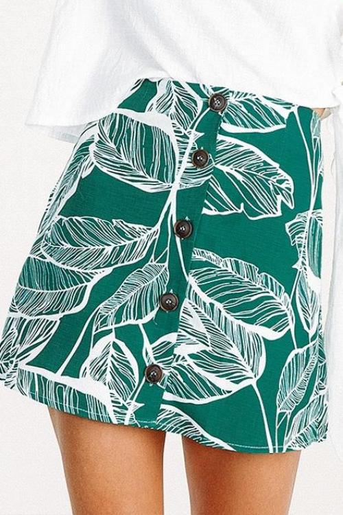 Leaf Print Button Skirt - BEHIND HEMLINES