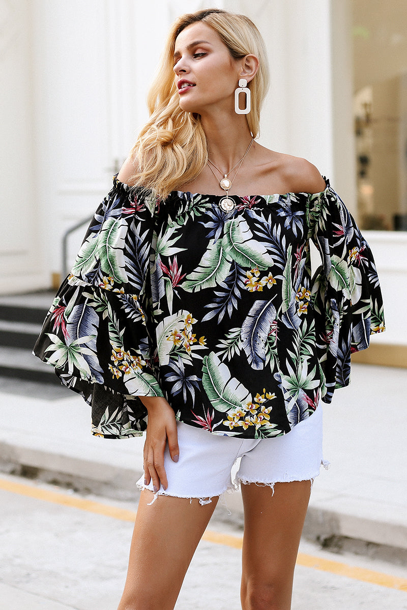 Off Shoulder Floral Print Wide Sleeve Blouse
