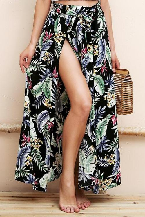 High Split Floral Maxi Skirt - BEHIND HEMLINES