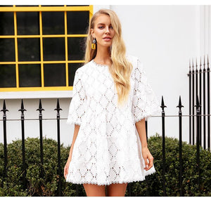 Flare Lace Mini Dress - BEHIND HEMLINES