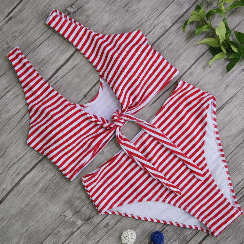 Kate's Striped Bow Tie Bikini - BEHIND HEMLINES