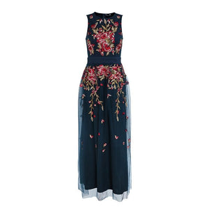 Mesh Embroided Maxi Dress
