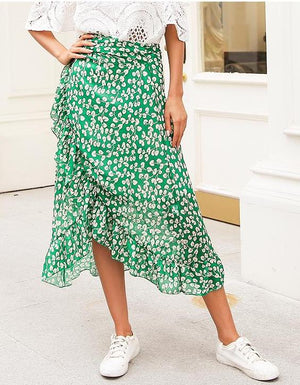 Leaf Ruffle Maxi Skirt