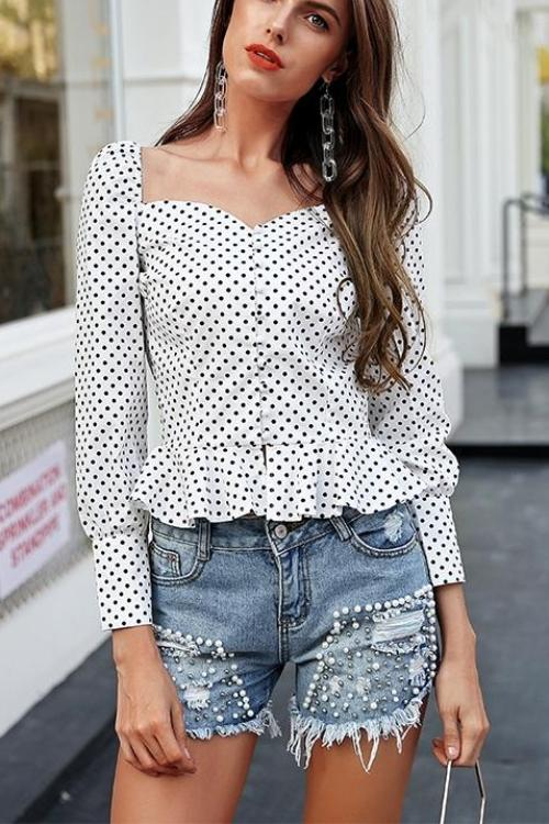 Polka Dot Puff Blouse