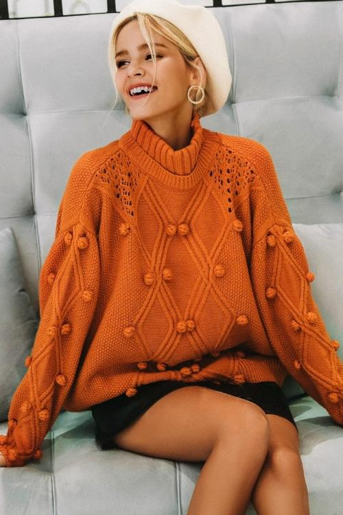 Caroline's Knitted Turtleneck Sweater
