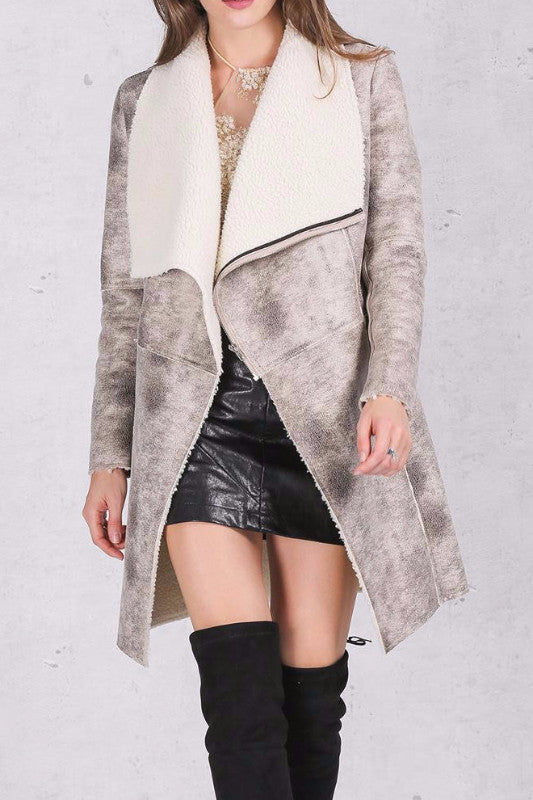 Soft Suede Long Winter Coat - BEHIND HEMLINES