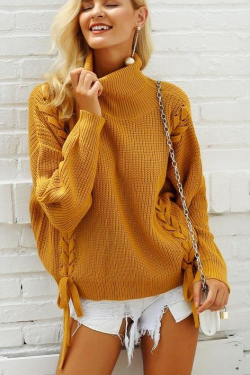 Darlene's Lace Up Sweater