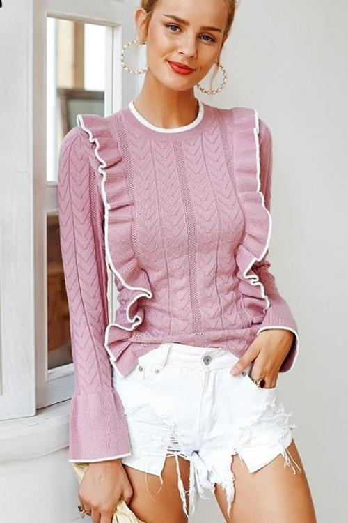 Stacy's Side Ruffle Sweater