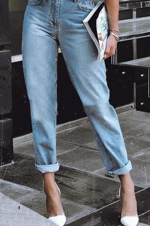 Nicole's Fold-over Casual Blue Jeans