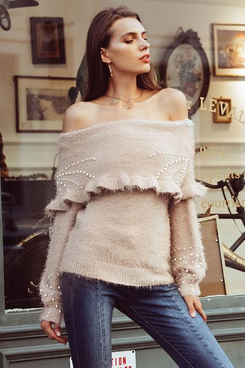 Audrey's Elegant Beaded Sweater