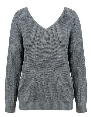 Cindy's V-Neck Pearl Knitted Pullover