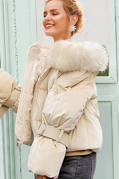 Jill's Hooded Fur Collar Coat
