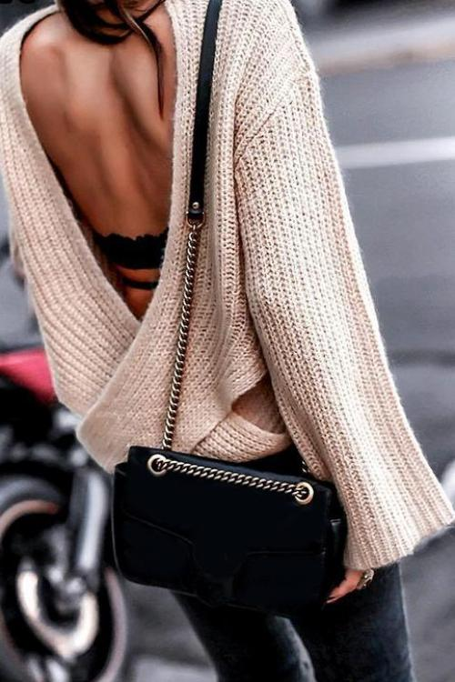 Shauna's Backless Knitted Sweater