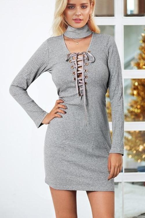 Heidi's Cross Lace Up Knitted Dress