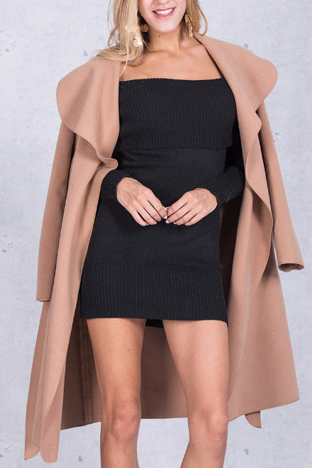 Tie-Waist Long Fall Coat - BEHIND HEMLINES