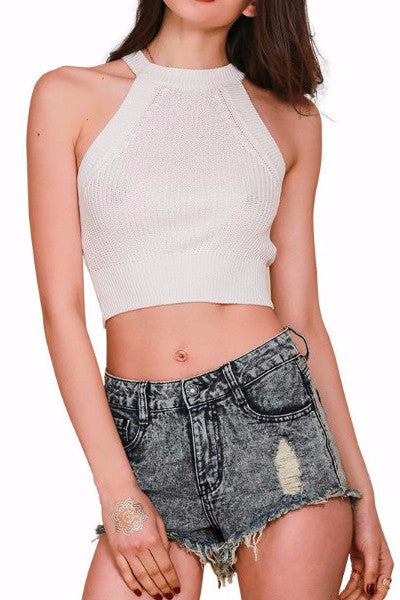Knitted Halter Crop Top - BEHIND HEMLINES - 1