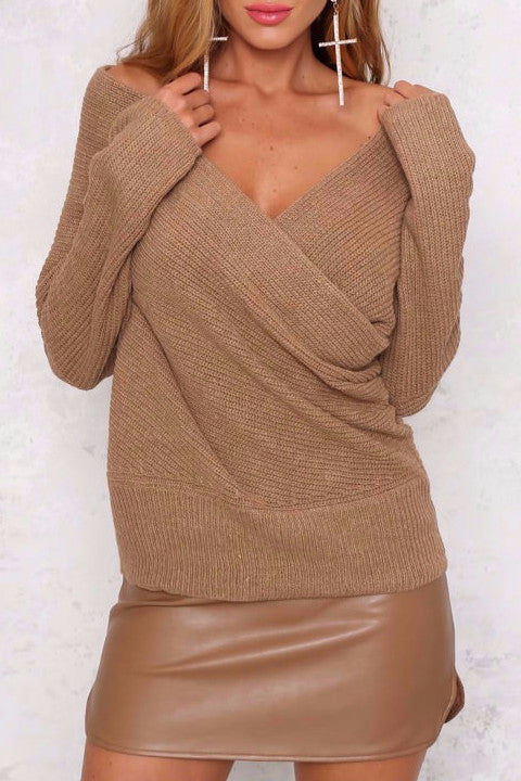 Off Shoulder Baggy Knitted Sweater - BEHIND HEMLINES