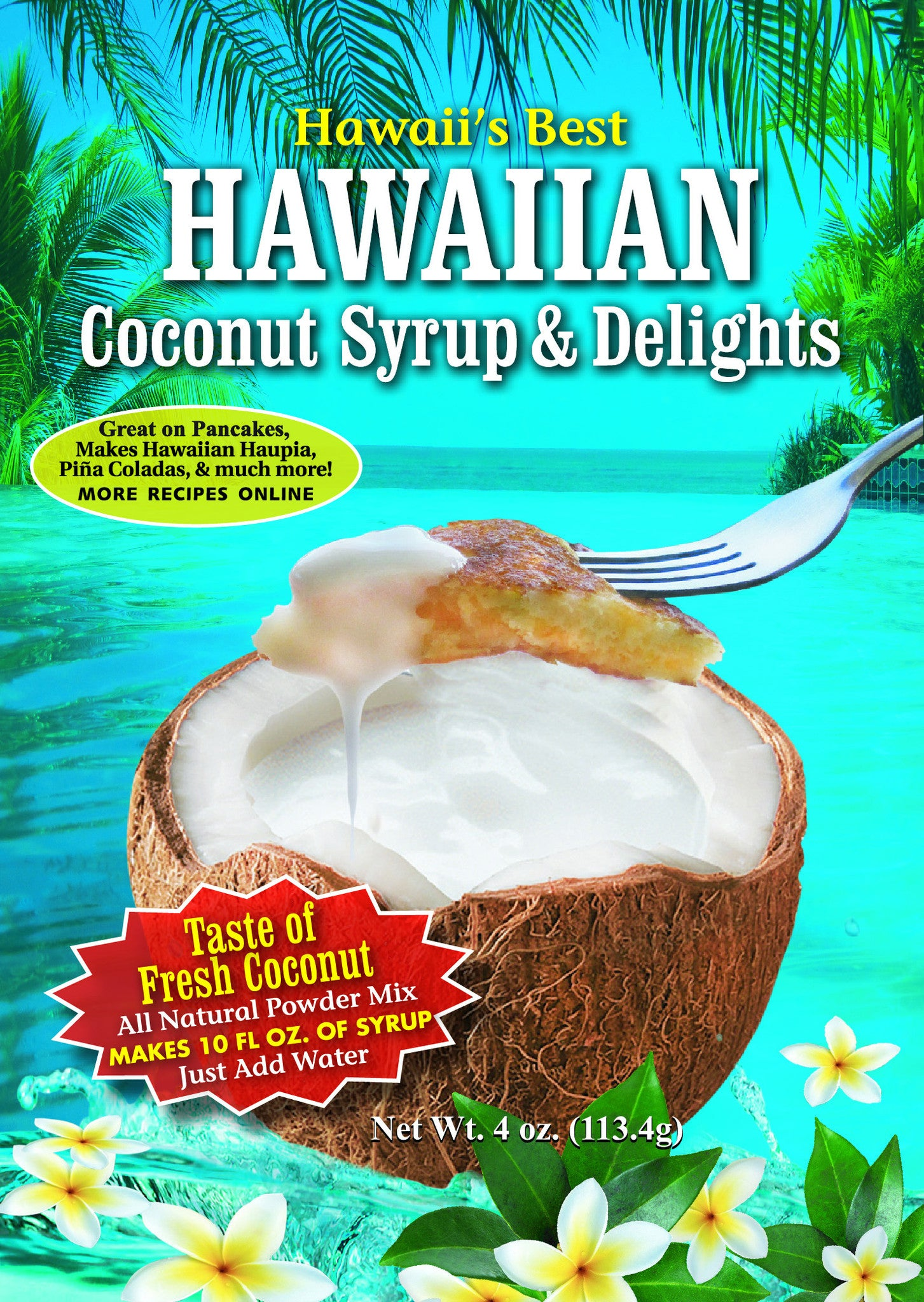 (10 BAGS - EXTRA VALUE PACK, $3.24 EACH!) HAWAIIAN COCONUT CREAM SYRUP MIX (4 oz package).