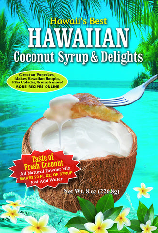 (1 BAG) HAWAII'S BEST COCONUT CREAM SYRUP MIX (8 oz package), Gluten Free, Makes 16-20 oz of Coconut Syrup, Just add water!
