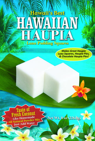 (1 BAG) HAWAIIAN HAUPIA MIX (Coconut Pudding Luau Squares Served at EVERY Luau!)  Makes 8x8 pan, Gluten Free, Just add water!