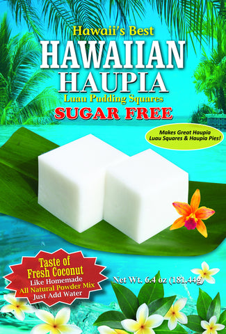 (1 BAG) SUGAR FREE HAWAIIAN HAUPIA MIX (Coconut Pudding Luau Squares), Made with 100% Xylitol, Gluten Free, Makes 8x8 pan, Just add water!