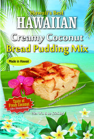 (5 BAGS - EXTRA VALUE PACK, $6.09 EACH) CREAMY COCONUT BREAD PUDDING MIX.  10 MINUTES TO PREPARE IN MICROWAVE!  SEE OUR BLOG FOR INSTRUCTIONS.