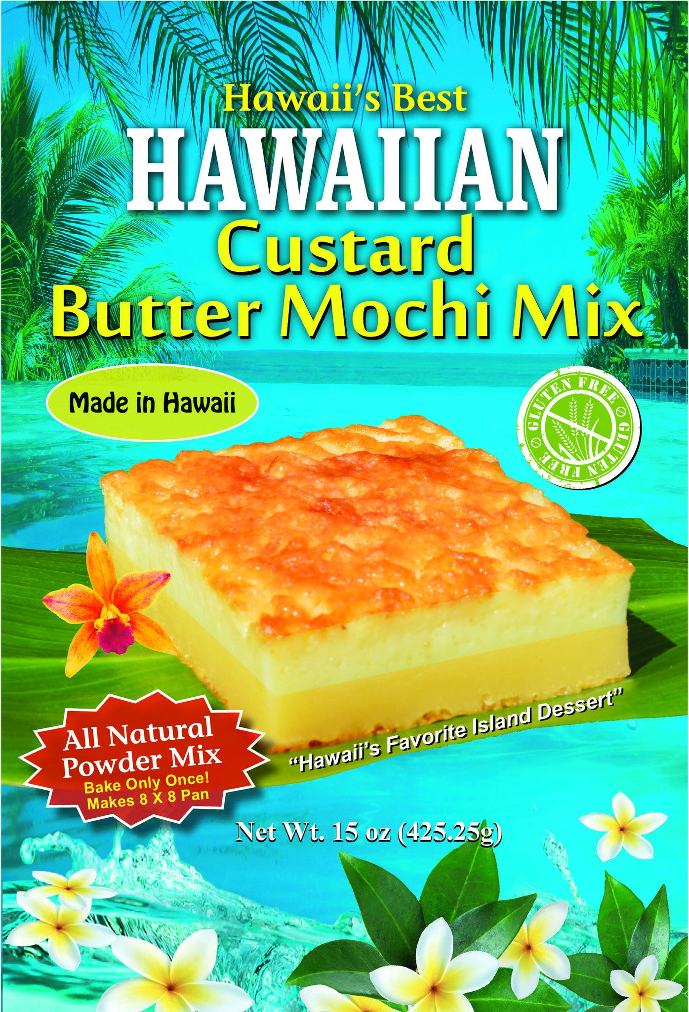 (1 BAG) CUSTARD BUTTER MOCHI MIX, Makes 8x8 pan, Gluten Free, Bake Once & Enjoy 2 Desserts, Top Layer- Custard, Bottom Layer- Butter Mochi!