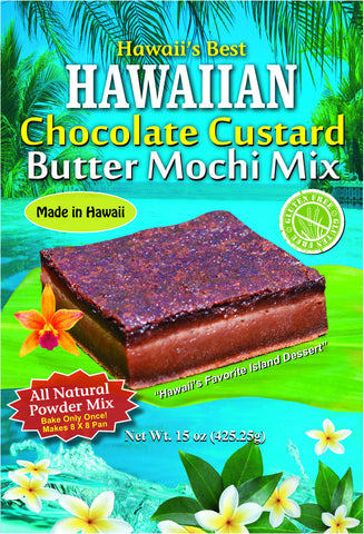 (3 BAGS - EXTRA VALUE PACK, $7.49 EACH)  HAWAIIAN CHOCOLATE CUSTARD BUTTER MOCHI MIX (MADE WITH 100% GHIRARDELLI COCOA). NEW ITEM!